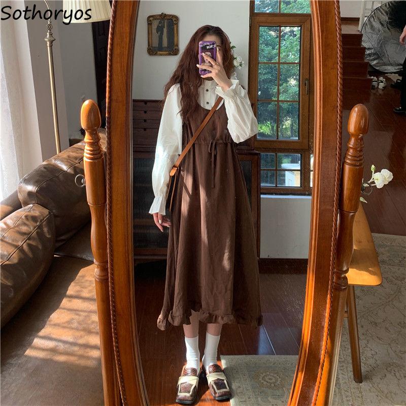Женский комплект из 2 предметов, белая рубашка с длинным рукавом и плиссированным платьем с высокой талией, винтажный Модный простой милый элегантный наряд для женщин Спортивные костюмы    АлиЭкспресс
