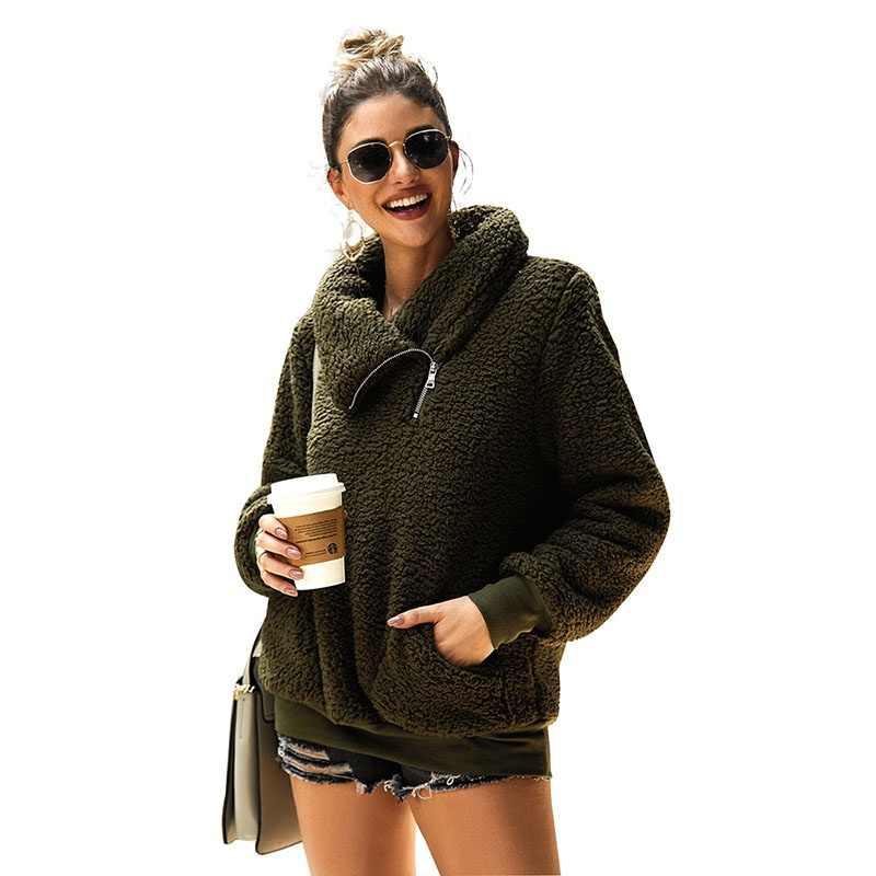 Женская толстовка с капюшоном, пальто, Осеннее и зимнее пальто с высоким воротником, однотонное, толстый плюш, теплое, повседневное, темно-серое, 2XL