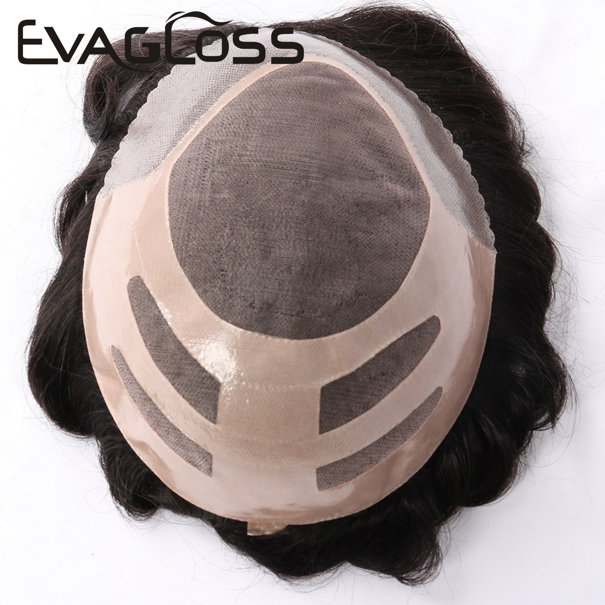 EVAGLOSS Men's Wig Fine Mono Lace With Poly Bond Handmade Human Hair Male Wig Hair System Replacement Hairpiece Mens Toupee