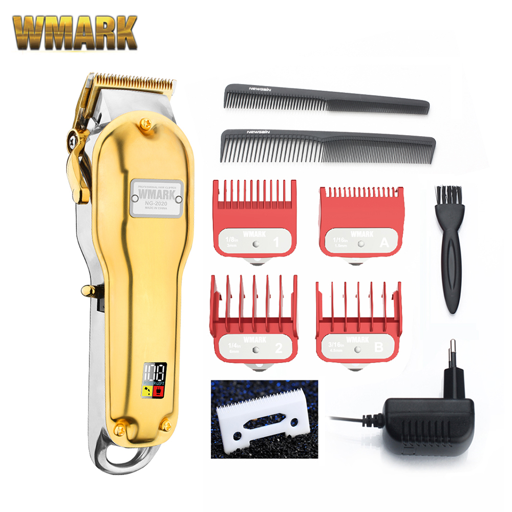 NG-2020 WMARK All-metal Cordless Hair Clipper NG-2019 Electric Hair Trimmer 2500mAh Cordless Hair Cutter Golden Color