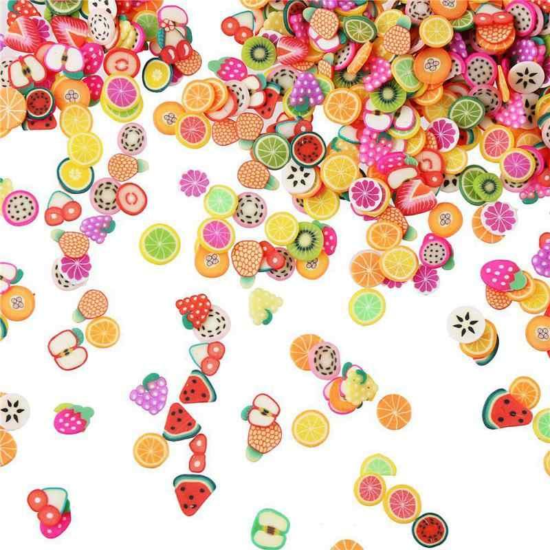 200 قطعة بوليمر كلاي الفاكهة شرائح الوحل المضافة Lizun الفخار لينة السحر ل الوحل لوازم حشو مسمار الفن ديكور الجمال اللعب