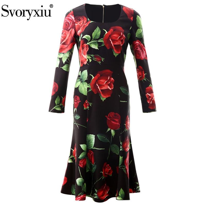 Svoryxiu Runway Vintage Black Big Rose Flower Print Mermaid Dress Women's Elegant Long Sleeve Autumn Winter Party Midi Dresses