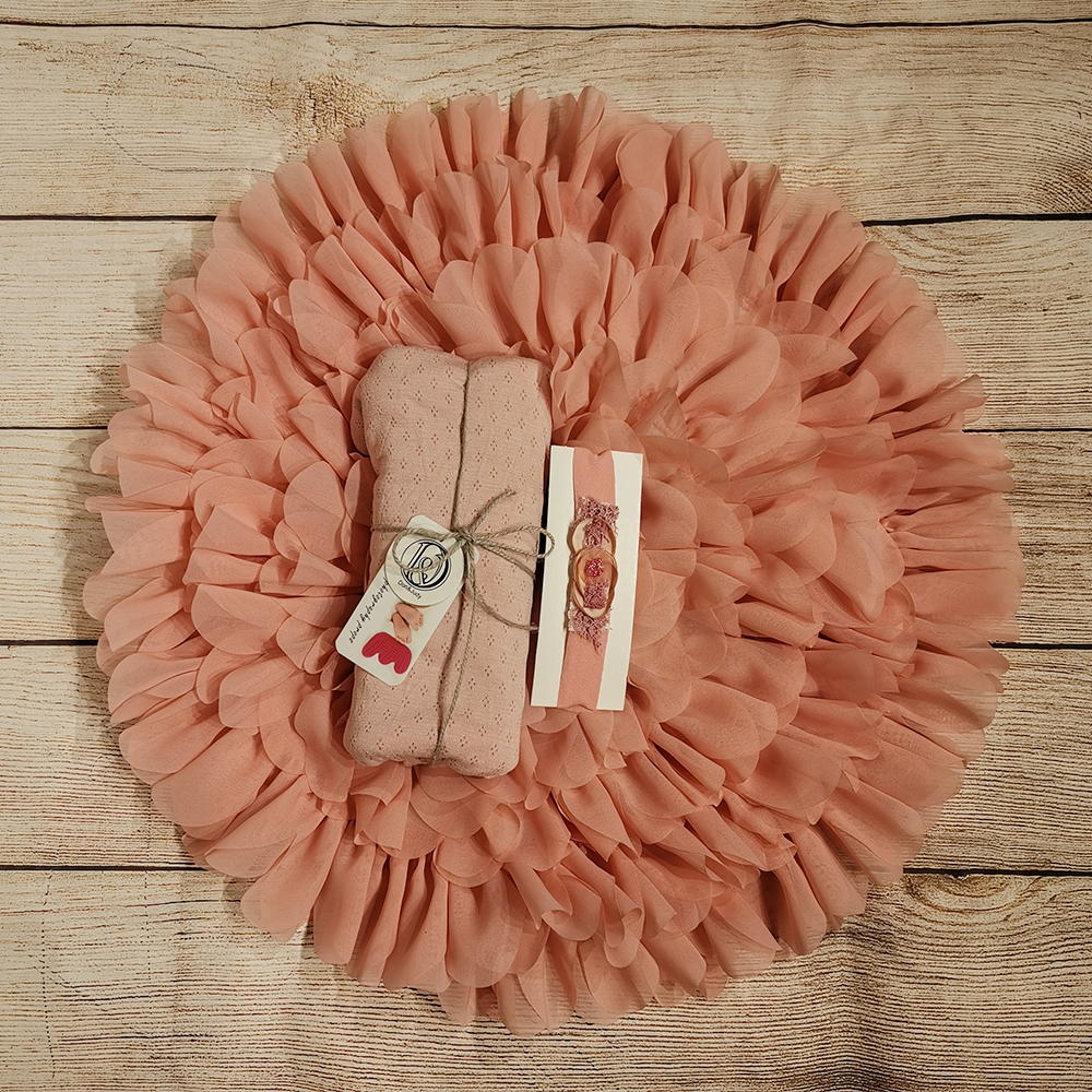 50cm Flower Style Mat Soft Chiffon Cushion+45*160 Cm Stretch Breathable Wrap+matched Headband For Newborn Photography Props