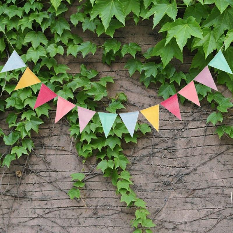 12 pièces à la main Triangles drapeau fête de mariage bruant joyeux anniversaire anniversaire ornement coloré suspendus bannière bricolage décoration