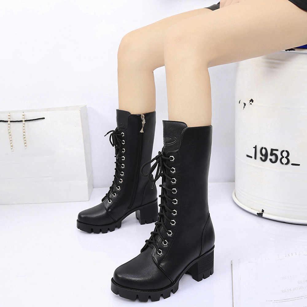 SAGACE dames genou bottes bottes à fermeture éclair plate-forme femme Punk chaussures léger à lacets confortable grande taille 36-40