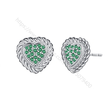 Micro CZ pave stud earring Heart shape stud earring amethysts sapphire red green blue purple cubic zircon jewelry dance legend пигмент crome chameleon 01 цвет 01 blue green purple variant hex name 436d61