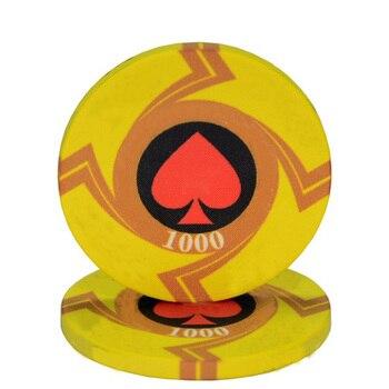 25 pièces/lot en céramique Texas jetons de Poker professionnel Casino européen jetons ensemble 39*3.3mm 10g 1