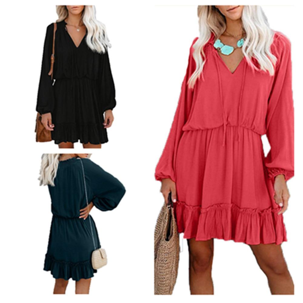 2019 Autumn Suit-dress women summer Solid Color Waist Fold Split Long Sleeve Dress fashion clothes woman