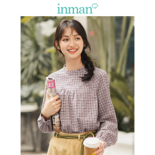 INMAN 2019 Autumn New Arrival Retro Little Stand up Collar Split Long Sleeve Plaid Slim All Matched Literary Women Blouse