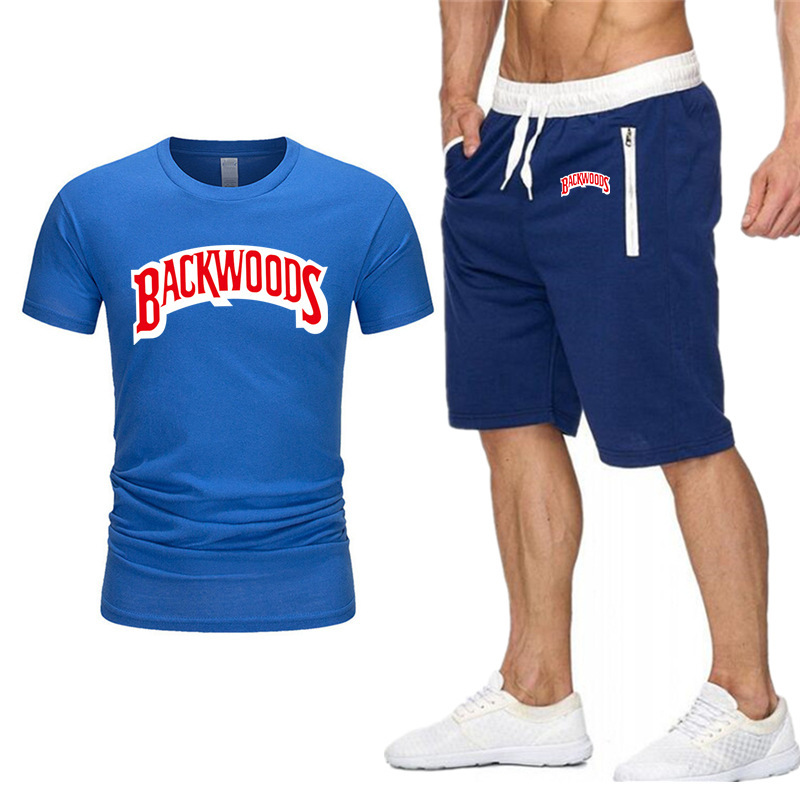 Brand Men's Sets BACKWOODS Print Casual Streetwear Shorts Suit Sports Summer Fashion Jogging Sportswear Clothing Pant Men Set
