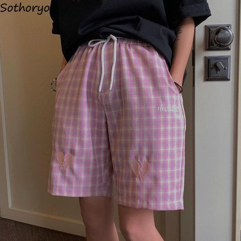 Women Sleep Bottoms Plaid Japan Style Embroidery Design Chic Retro Teens Lounge Wear Cozy All-match Leisure Knee Length Harajuku