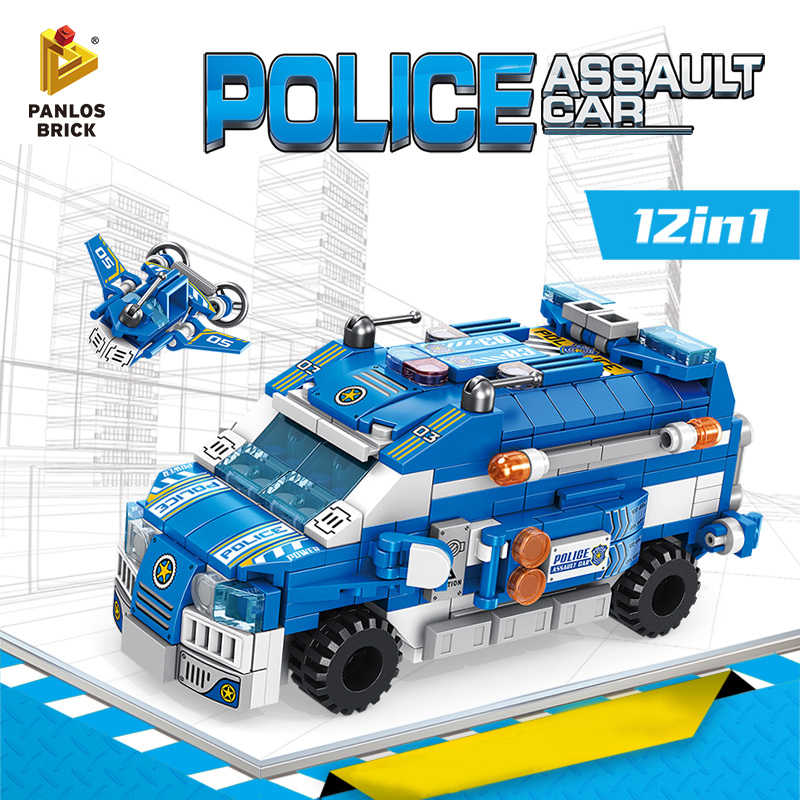 Building Blocks Police Assault Car 12in1 Police Boat Combat Plane Patrol Aircraft Robot Ship Mini Fun Block Toy Gift For Boy Kid
