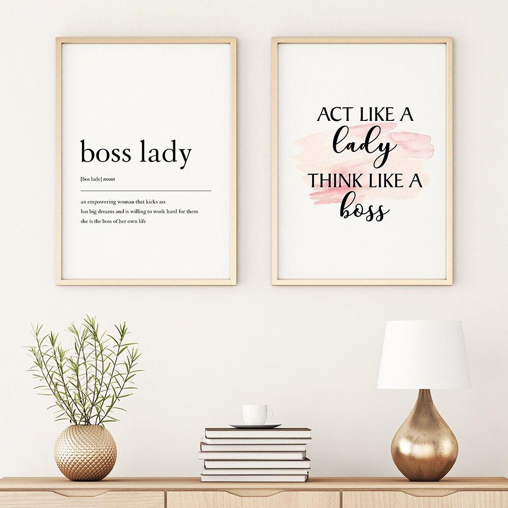 Boss Lady определение художественная стена с цитатой минимализм холст картины Nordic Плакаты и принты настенные картины для Декор в гостиную
