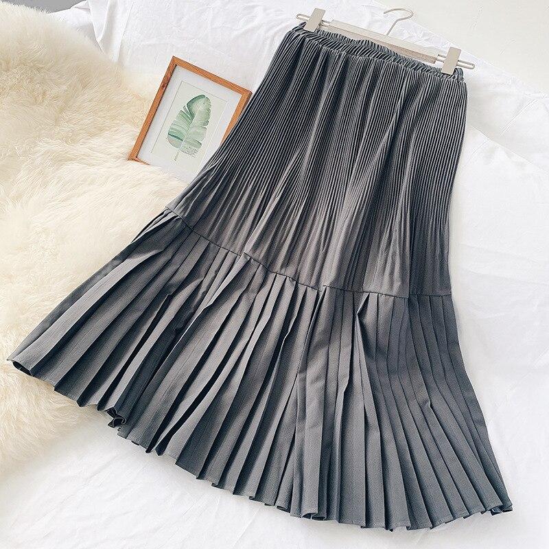 Women Skirt Pleated Patchwork Long Skirts Fashion Autumn Winter Skirt Female Pure Simple Big Swing Elegant Skirt Female Faldas