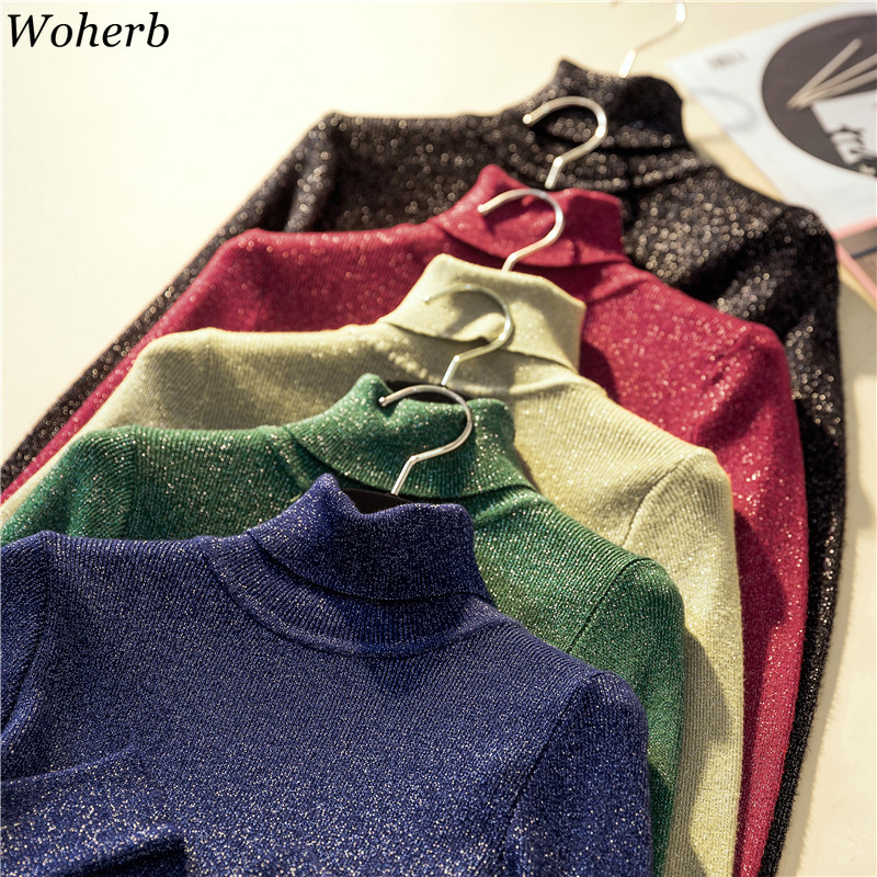 Woherb Shiny Lurex Autumn Winter Turtleneck Sweater Women Pullover Jumper Basic Sweaters 2020 Korean Style Stretch Knit Tops