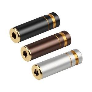 Image 1 - 5pcs HIFI หูฟังแจ็ค 3.5 มม.อะแดปเตอร์มุม 3.5 มม.4 POLE Balanced หญิงทองแดงชุบทอง Minijack 3.5 DIY เสียง