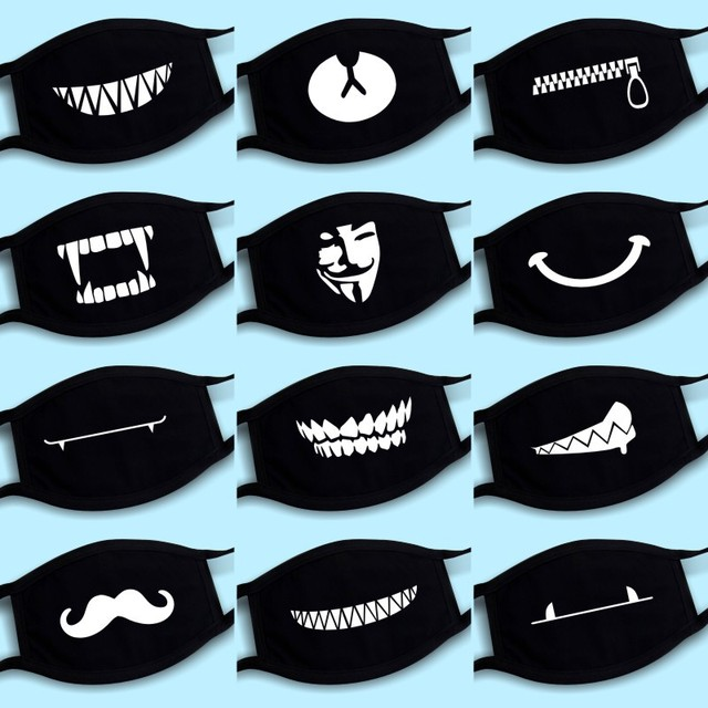 Cotton Dust Mask Cartoon Expression Teeth Muffle Face Respirator Anti Kpop Bear Mouth Mask Fast Shipping