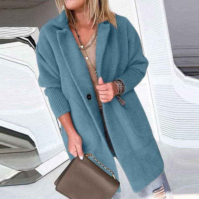 Womens Ladies Warm Coat Jacket Lapel Winter Long Outerwear Tops Female Plush Overcoat Pocket Casual Teddy Outwear 10.3