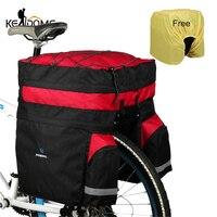 60L MTB bolsa de transporte de bicicleta bolsas de maletero trasero para bicicleta 3 en 1 equipaje Pannier asiento trasero para ciclismo con cubierta de la lluvia XA241D Maletas y cestas de bicicleta     -