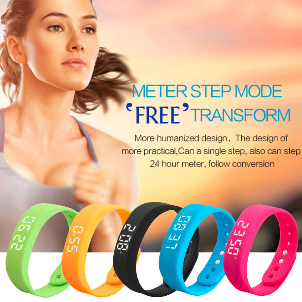 Fashion Trends 3D T5 LED Display Sports Gauge Fitness Bracelet Smart Step Tracker Smart Pedometer Man Woman Wristbands Smartband in Smart Wristbands from Consumer Electronics