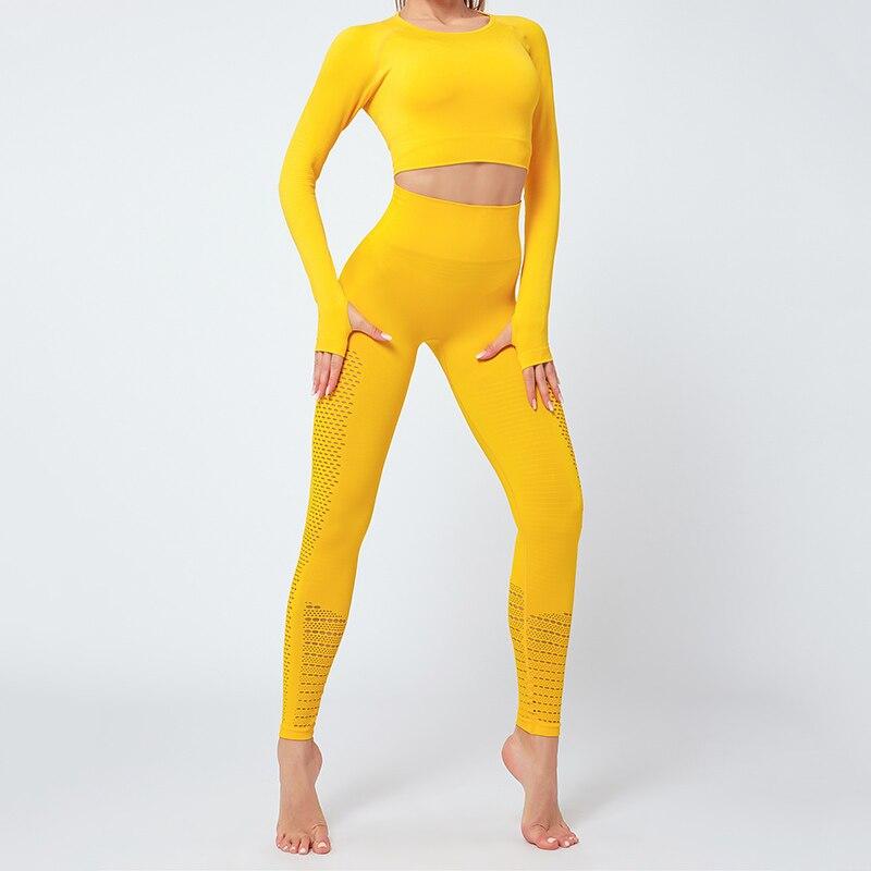 Бесшовный спортивный костюм для женщин одежда спортзала леггинсы