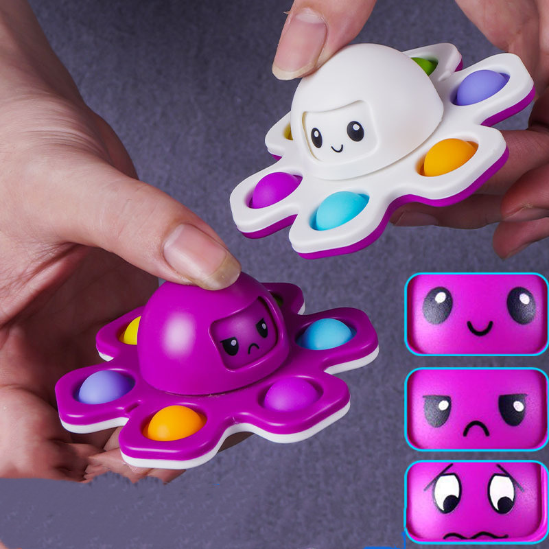 Fidget Toys Autism Stress Relief Silicone Interactive Flip Octopus Change Faces Spinner Push Pop Bubble Fidget Toy for Spinners