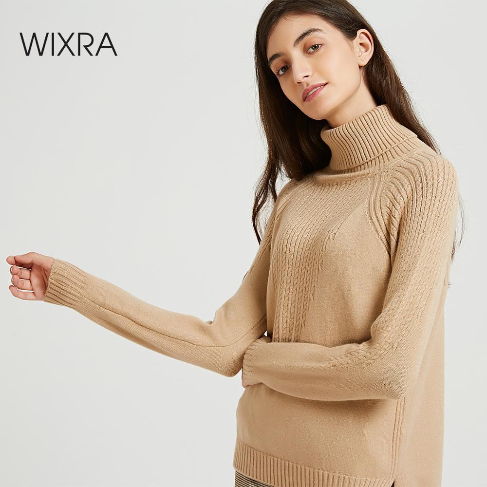 Wixra Femmes décontracté Pulls Et Pulls Épais Chaud 2019 Automne Hiver Doux Col Roulé Solide Tricoté Pull