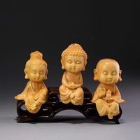 Western Three Gods Religious Buddha Statue Lucky Wood Statue Modern Chinese Style Sculpture Gift Wood Statue Home Decoration