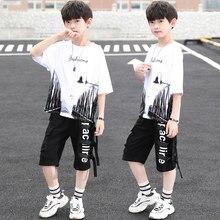 Novo verão meninos conjuntos de roupas crianças camiseta manga curta + calças ternos duas peças conjunto bebê meninos roupas 11 13 15 anos