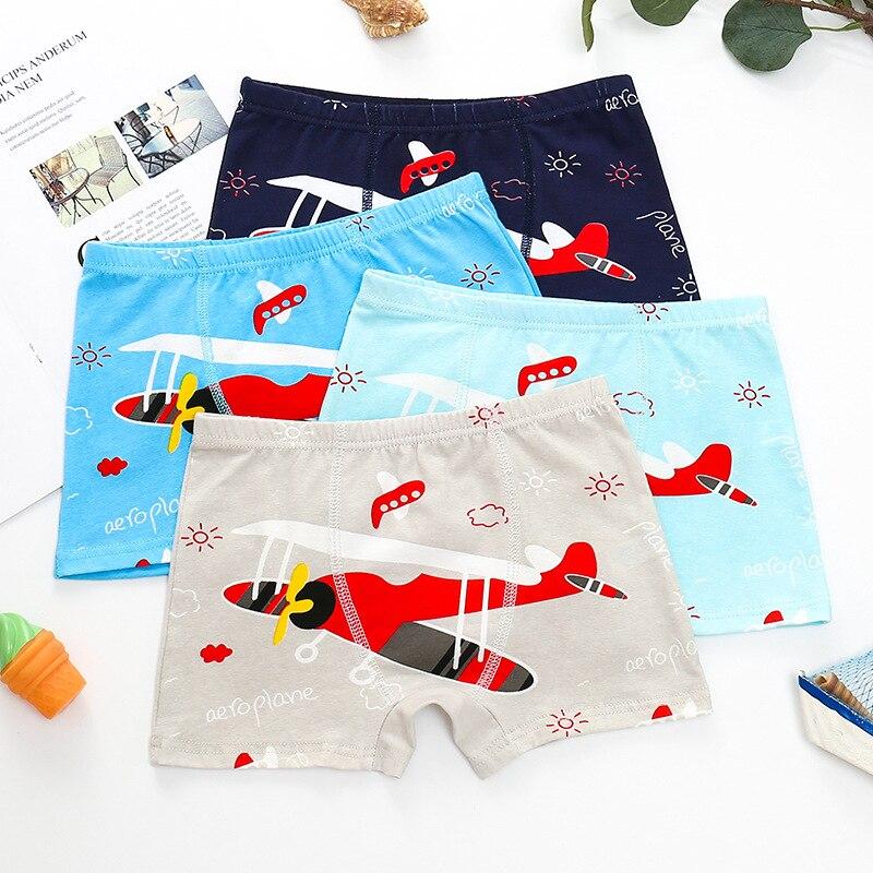 3 Pieces/lot Fashion Children's Underwear Boys Student Shorts Cartoon Airplane Printing Boys Cotton Boys'Underwear
