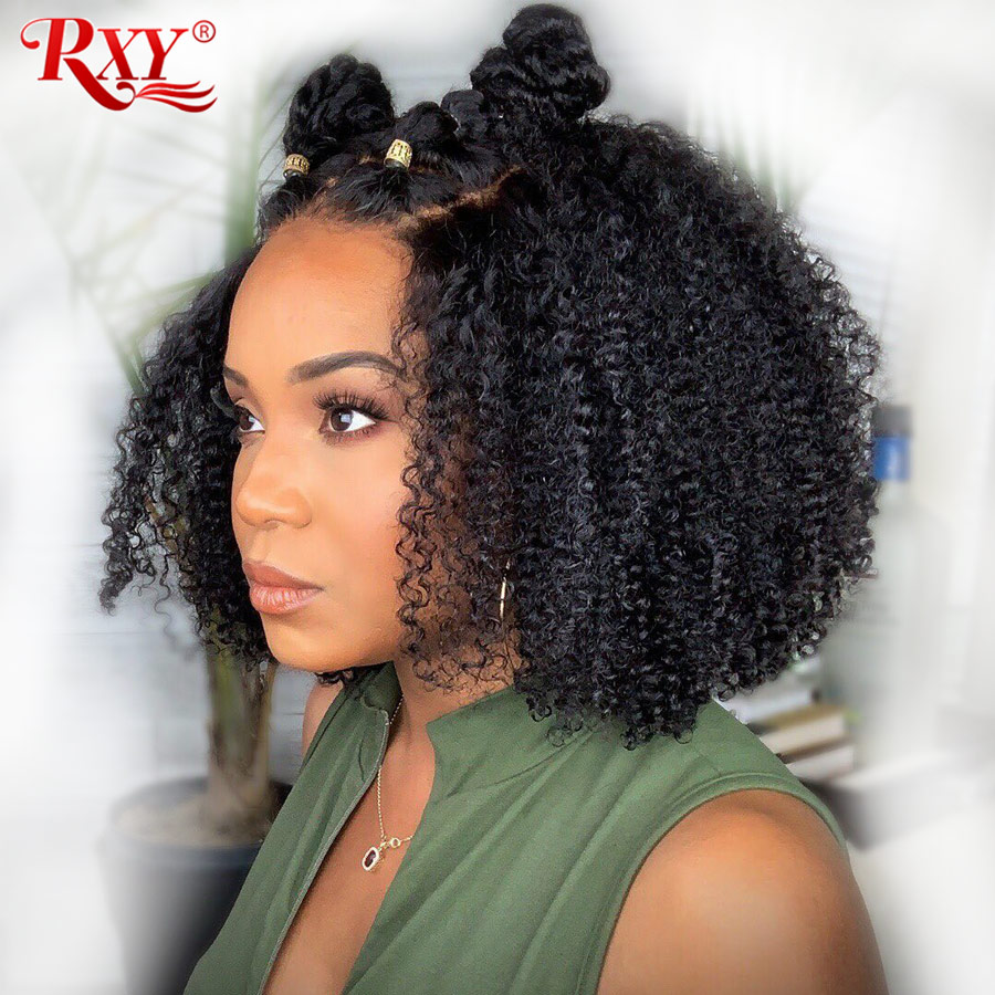 RXY Short Bob Kinky Curly Lace Front Human Hair Wigs For Black Women Brazilian Remy Lace Frontal Wigs Pre Plucked With Baby Hair