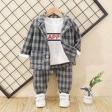 Клетчатый костюм для маленьких мальчиков, куртка с пуговицами + брюки, новинка 2020 года, весенне осенняя верхняя одежда для маленьких мальчиков, 2 предмета, детская верхняя одежда, От 1 до 4 лет