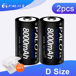 2pcs 8000 mAh 1.2V size D rechargeable batteries for flash light gas cooker radio refrigerator with 2 pieces battery case