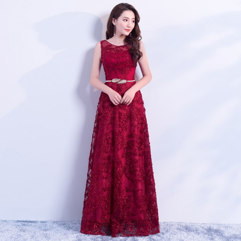 2019 Real Vestido De Noiva New Shoulder Lace Thin Metal Belt Slim Bridal Hotel Wedding Toast Evening Dress Host Annual Meeting