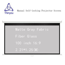 Thinyou Matte Gray Fabric Fiber Glass 100 inch 16:9 Auto Self-Locking Screen Pull Down  Manual Projector for HD projector
