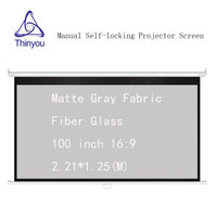 Thinyou Matte Gray Fabric Fiber Glass 100 inch 16:9 Auto Self Locking Screen Pull Down Manual Projector Screen for HD projector
