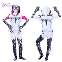 Spider Gwen Costume Spandex Zentai Venom Superwoman Costume per Halloween Cosplay Spider Vestito Della Tuta Costumi(China)