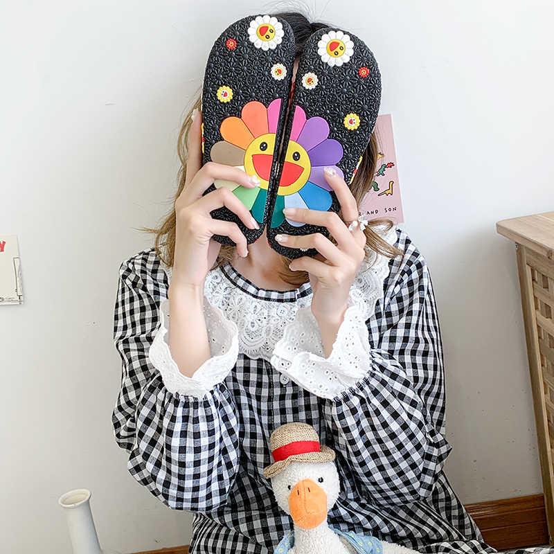 女性スリッパ村上ひまわりフラットフリップは、ファッションカラフルなフラワー柄かわいいホーム靴pvc女性ビーチスリッパ