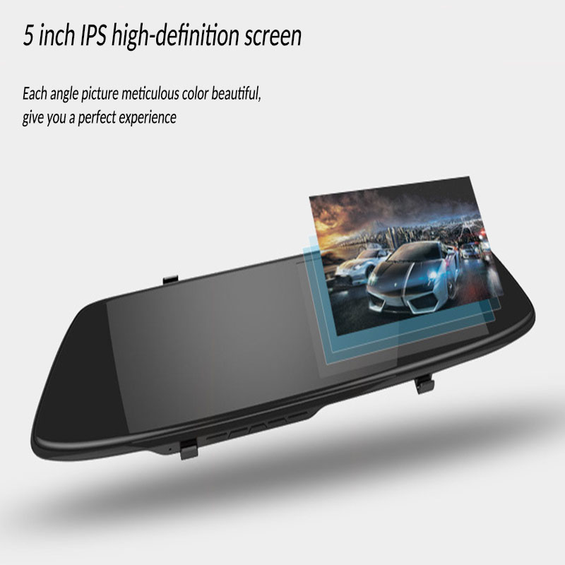 <font><b>2019</b></font> Rear View <font><b>Mirror</b></font> HD Car DVR <font><b>Dash</b></font> <font><b>Cam</b></font> 5 Inch Screen Dual Lens Automatic Cycle Coverage Night Vision Driving Recorder image
