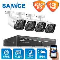 SANNCE 4CH HD 1080P XPOE CCTV Video NVR System 4PCS 2MP POE IP Camera Outdoor Weatherproof Home Security Surveillance WIFI Kits