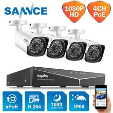 Sannce 4CH hd 1080p xpoe cctv nvrシステム4個2メートルipカメラ屋外耐候セキュリティ監視カメラシステム
