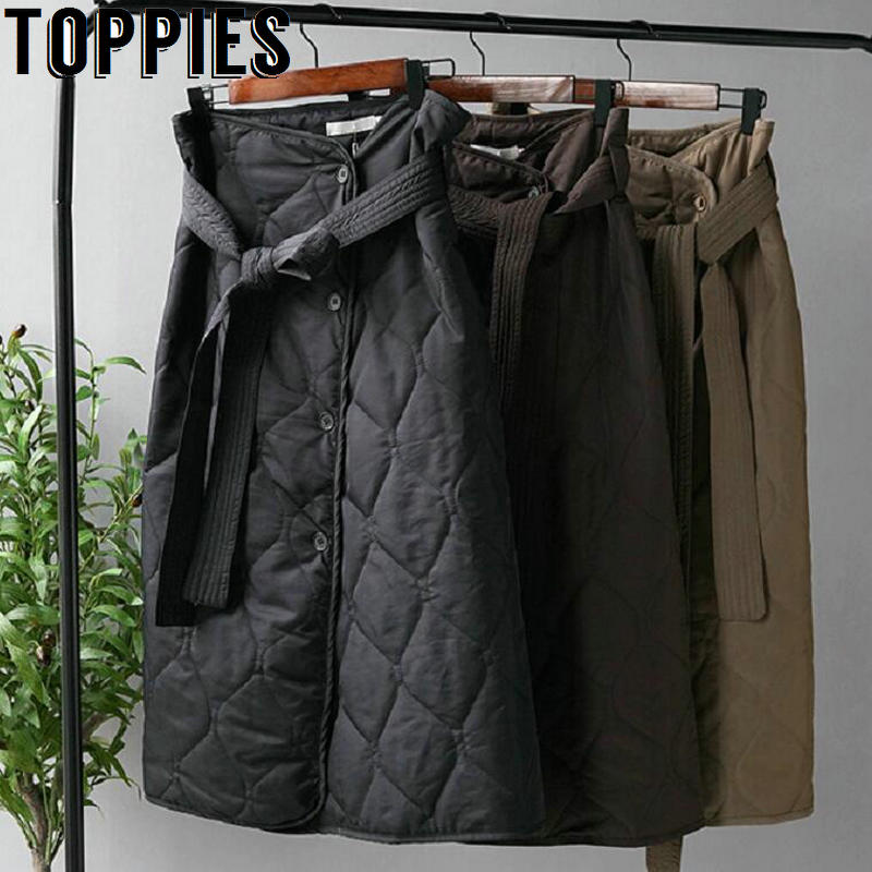 Winter Skirts Woment High Waist Asymmetrical Button Long Skirts Korean Fashion Ladies Faldas