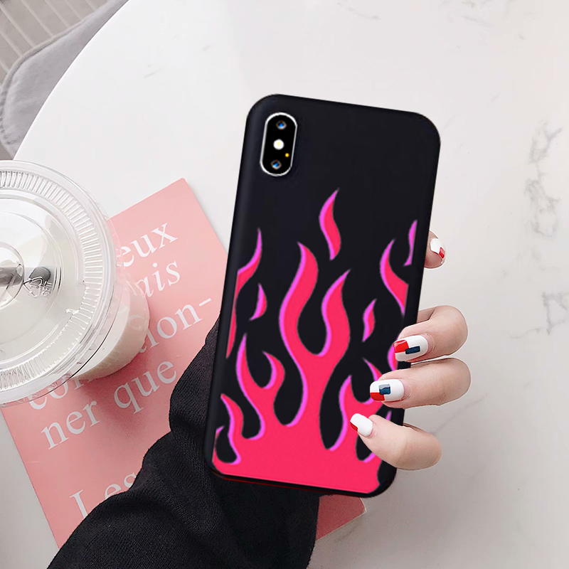 JAMULAR Fashion Flame Pattern Phone Case For iPhone X XS MAX 11 Pro XR 7 8 6Plus SE 2020 Black Red Soft Silicone Back Cover Capa(China)
