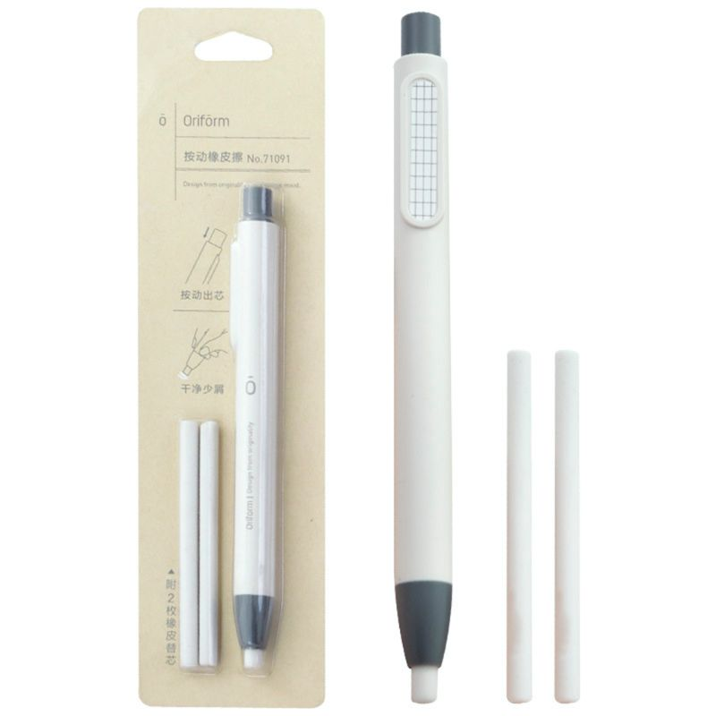 Refillable Pen Shape Rubber Press Type Mechanical Eraser School Stationery Art