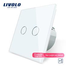 Original, Livolo EU Standard Touch Schalter, 2 Gang 2 Way Control, 3 Farbe Kristall Glas-Panel, wand Licht Schalter, C702S-1/2/5
