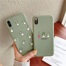For Iphone 7 8 Plus 6s Matcha Green Cactus Pattern Phone Case IPhone XI X XS 6 6S Soft Silicone Cover