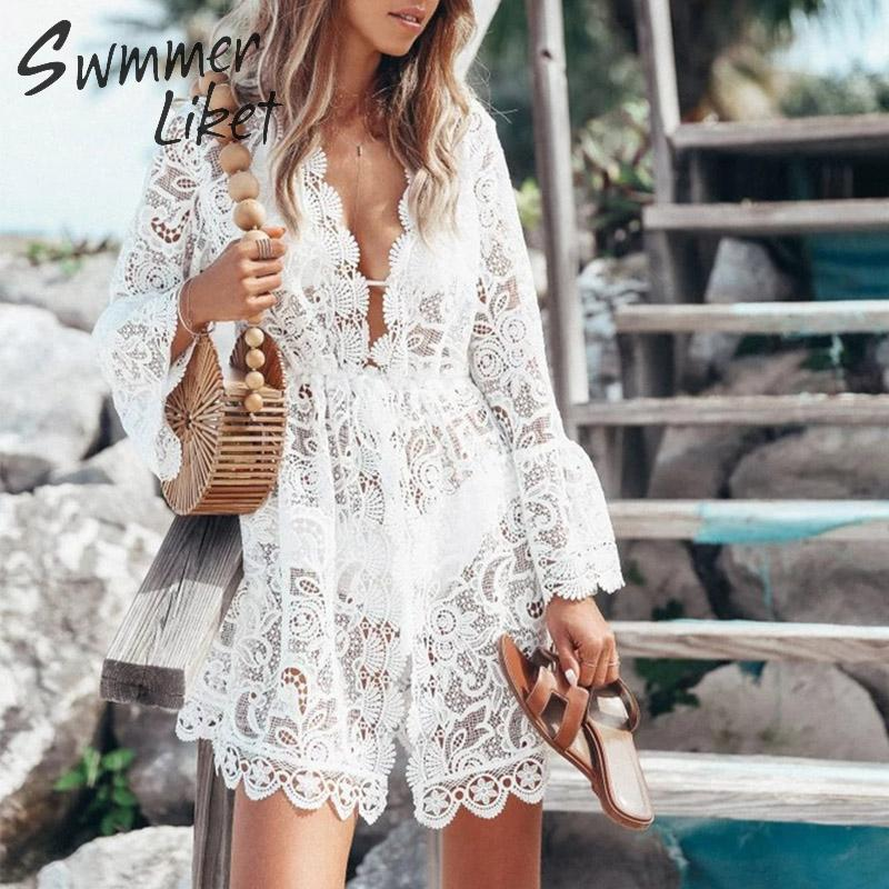 Sexy see though bikini 2019 White swimwear women embroidery beach dress V-neck swimsuit female beach cover ups Lace beach wear