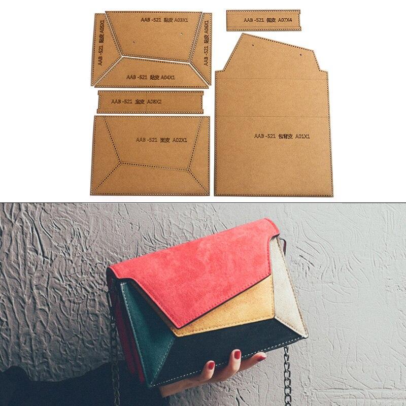 Sac à bandoulière en cuir pour femmes, sac à bandoulière en cuir de bricolage à la main, modèle de pochoir en papier Kraft rigide