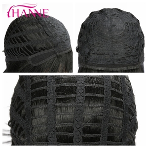 Image 5 - HANNE  Black Medium Wigs for Black Women Straight Wig With Bangs African American Natural Synthetic Hair