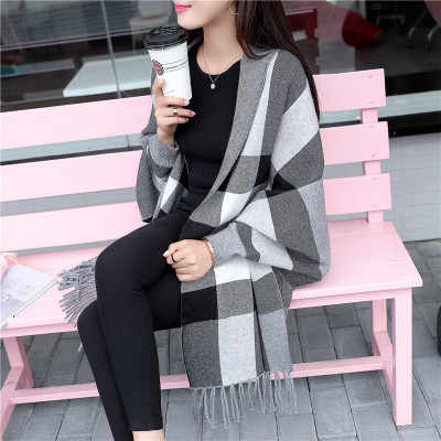 Cárdigan capa de punto Mujer capa 2019 Otoño Invierno mujer suéter coreano ropa mujer borla grande chal cardigan plaid suéter